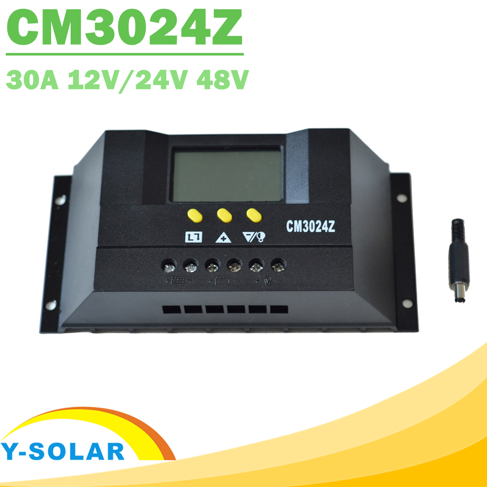 PWM 30A Solar Charge Controller LCD 12V 24V 48V Intelligent Solar Panel Battery Charger Regulator for Lighting DC12V24V / DC48V 20a 12 24v solar regulator with remote meter for duo battery charging