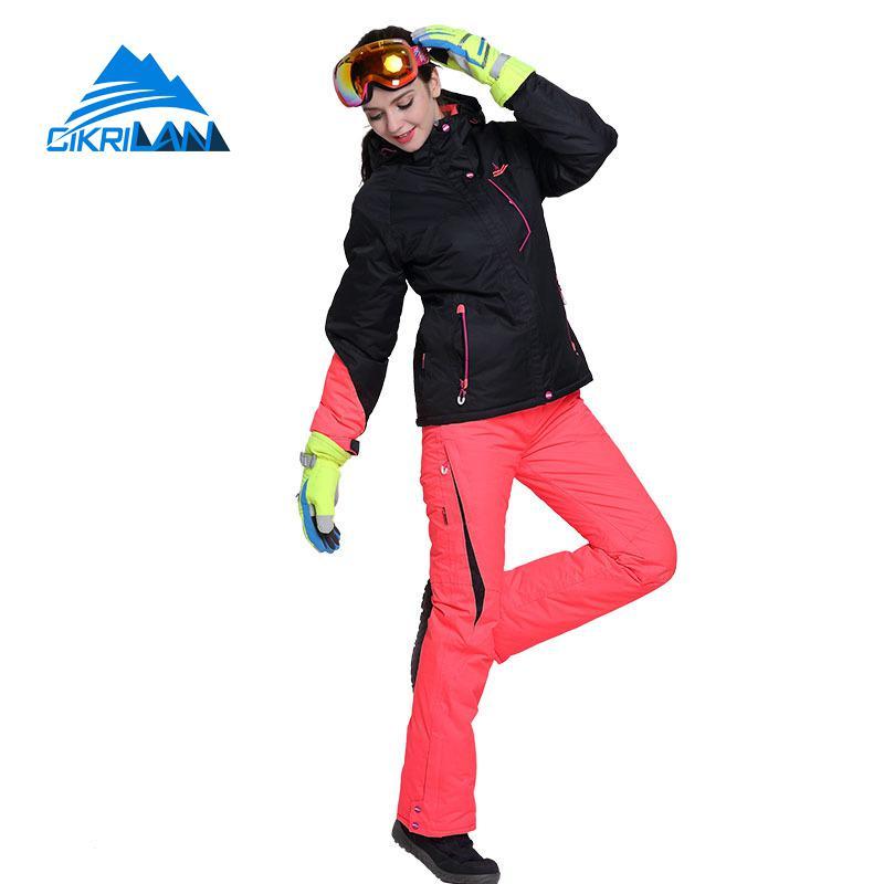 New Windproof Waterproof Skiing Snowboarding Cotton Padded Jacket Snow Pants Set Women Outdoor Winter Sport Snowboard Ski Suit gsou snow waterproof ski jacket women snowboard jacket winter cheap ski suit outdoor skiing snowboarding camping sport clothing