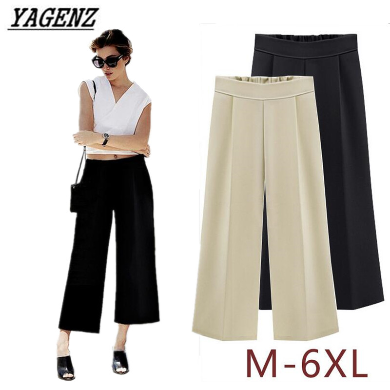 YAGENZ Large size M-6XL Summer   Wide     leg     pants   Women Elastic waist Loose Casual Trousers Autumn Ankle-length nine yards   Pants