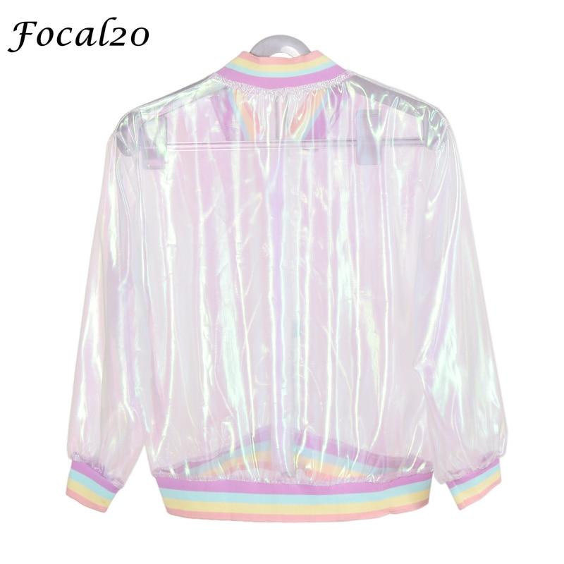 Focal20 Streetwear Rainbow Color Laser Women Sunproof Jacket Clear Iridescent Transparent Jacket Coat Sun Protection Outwear 6