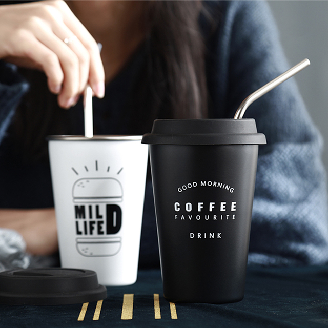 Stainless Steel Cups with Lid Straw Cup Sleeve 450ML Metal Drinking Mugs Coffee Mug Food Grade Cups BPA Free for Children Adults 6