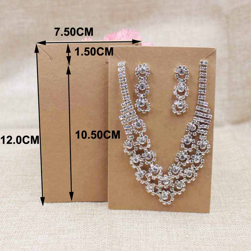 Wholesale Blank Black/craft Jewelry Package Card  Necklace With Earring Products Display Paper Card 200pcs Per Lot 12*7.50cm