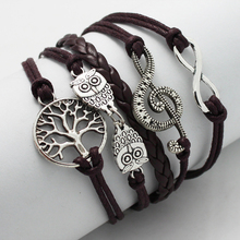 Hand woven Retro silver Infinity owls Peace Tree of life Musical Note Treble clef Charm brown Wax Cords PU Leather Braided Brace