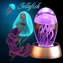 WR Новое поступление очаровательные креативные Медузы Кристалл в стекле с светодиодный лучший подарок лампа расслабляющее красивое настроение свет