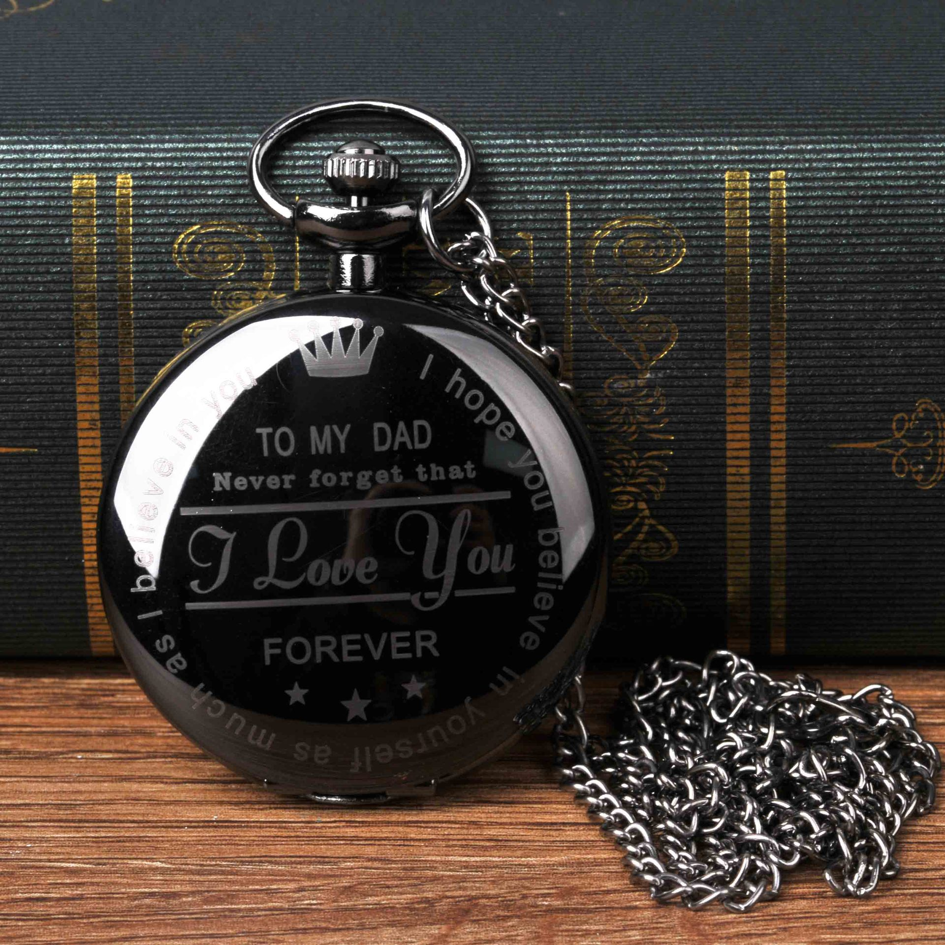 "8878   Fashion Vintage Lettering ""TO MY DAD Quartz Pocket Watch Retro Men And Women Pendant Necklace Antique  Pocket Watch"