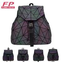Women Laser Luminous Backpack Mini Geometric Shoulder Bag Folding Student School Bags For Teenage Girl Hologram Bao Backpack