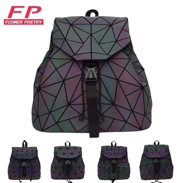 6aa3f11bca16 US $17.53 47% OFF|Women Laser Luminous Backpack Mini Geometric Shoulder Bag  Folding Student School Bags For Teenage Girl Hologram Bao Backpack-in ...