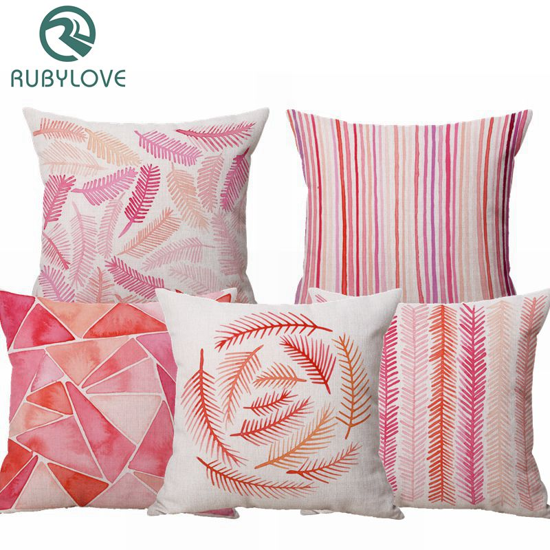 Nordic Simplified Style Home Decorative Retro Pink Geometry Leaf Linen Cotton Throw Cushion Cover Pillow Case For Office Chair