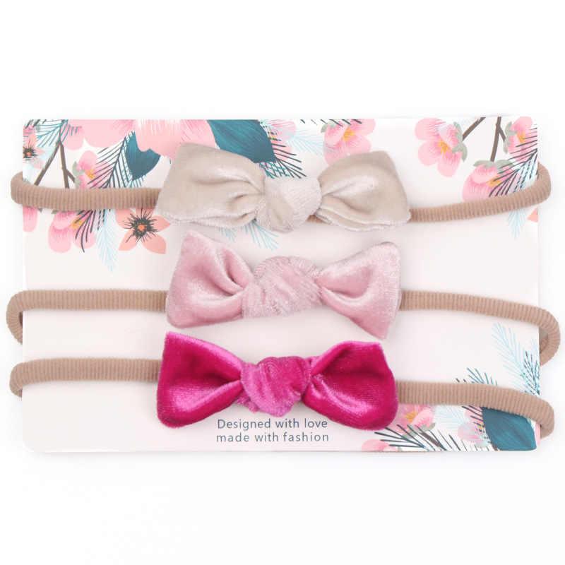 3 قطعة/المجموعة أزياء لطيف طفل الفتيات عقال جميلة Bowknot Hairbands المخملية Hwadmade الانحناء لينة رباط شعر إكسسوارات الشعر