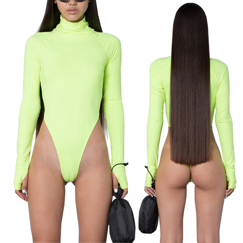 Spring Black Fluorescent Green Turtleneck Long Sleeve Bodysuit Women New Bodycon Rompers Skinny High Cut Out Thong Bodysuits 2XL