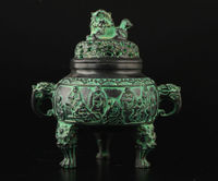 Exquisite Chinese Vintage Collection Old Bronze Casting Spiritual Lion Buddha Incense Burner