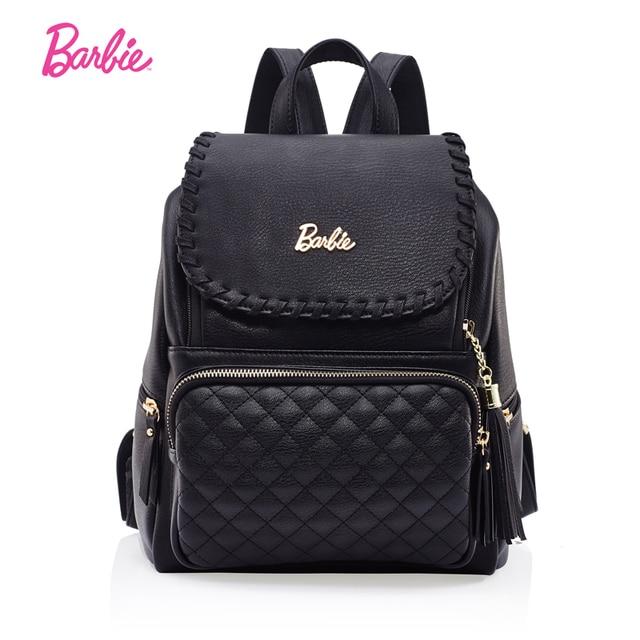 605846ea6aeb 2017 Barbie Women backpack black Diamond lattice girls leather backpacks  school Bags Fashion Trend Brief Bag For Ladies