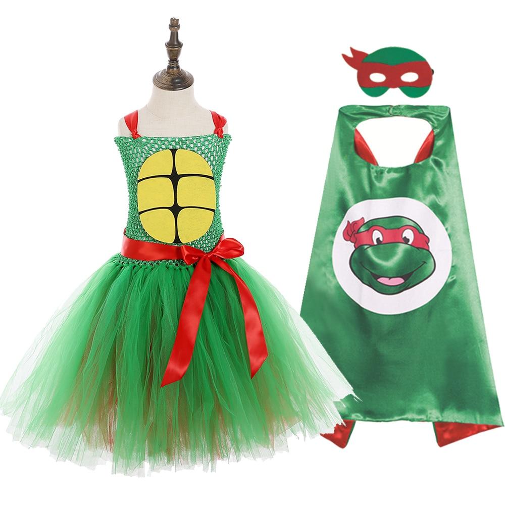 Girls Superhero Ninja Pattern Sleeveless Casual Party Dress Teenage Turtles Cosplay Halloween Tutu Dress Girls Custome Dresses (1)