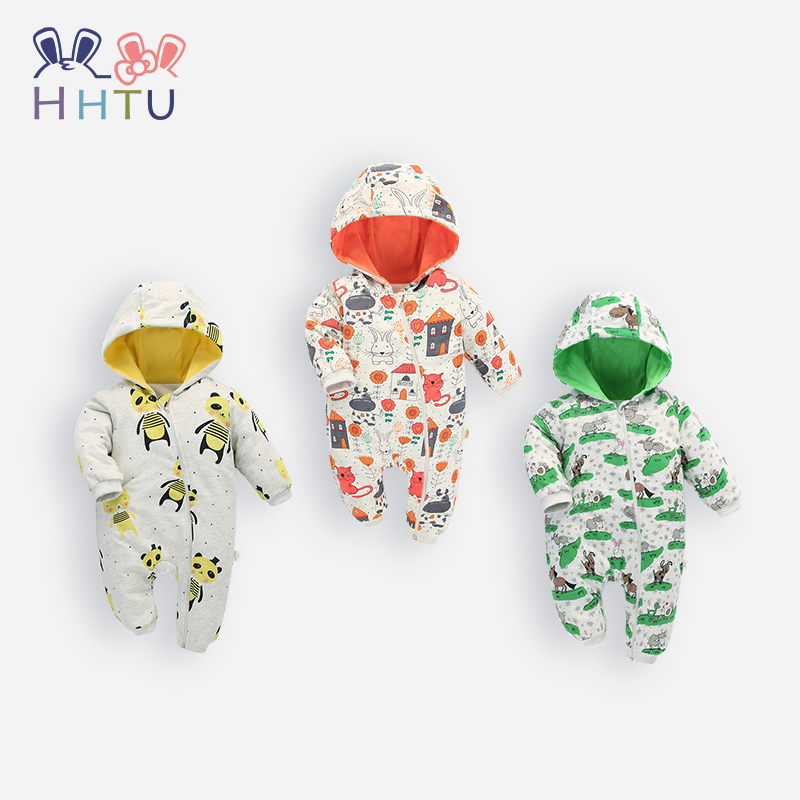 HHTU Newborn Baby Rompers Winter Autumn Thick Baby Cartoon Clothes Infant Jumpsuits Soft Baby Costumes Casual Clothing yierying baby clothing autumn and winter baby rompers long sleeves cotton hooded infant clothes cartoon newborn jumpsuits