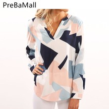 Elegant Geometric Print Blouses Shirt For Women V Neck Long Sleeves Tops Casual Loose Office Ladies Blouse Tee Clothing C152
