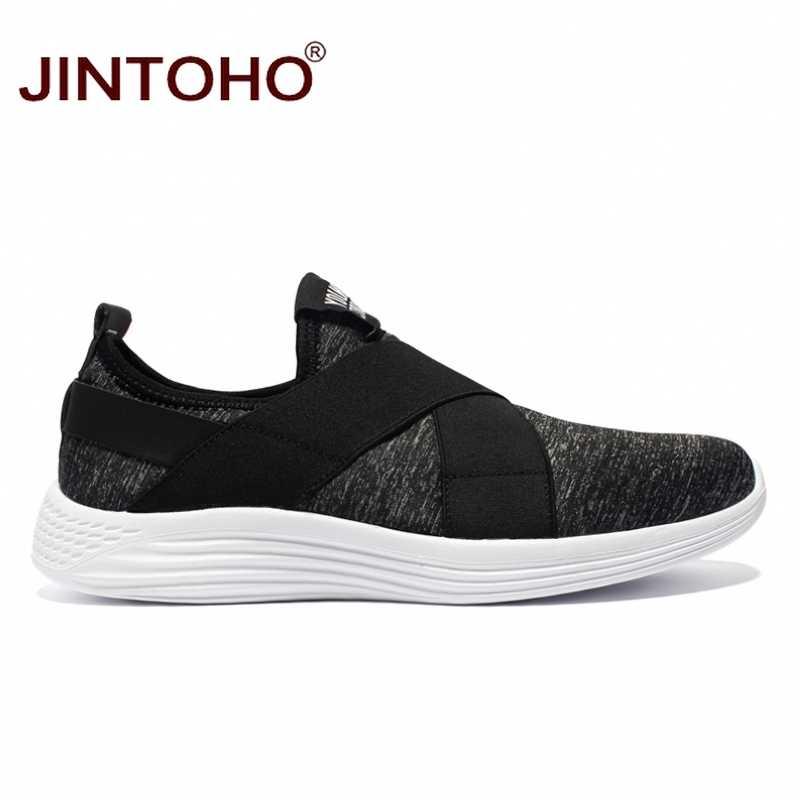 JINTOHO büyük boy marka erkek rahat ayakkabılar moda nefes ayakkabı erkekler için ucuz tekne ayakkabı erkekler üzerinde kayma loafer ayakkabılar erkekler Shose