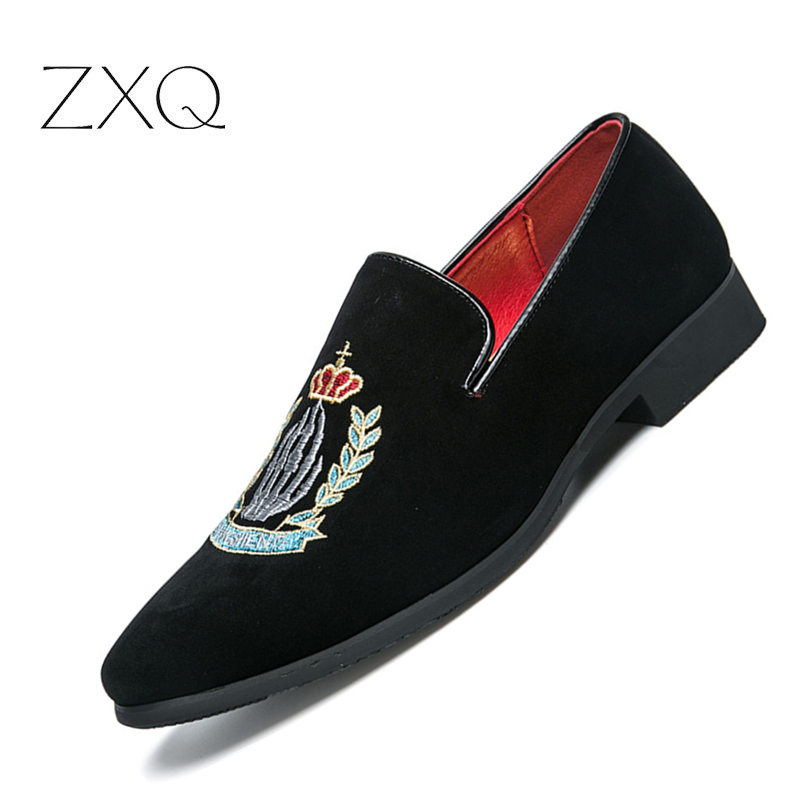 814f4516c87 Luxury Brand Men Loafers Shoes Top Quality Back Shoes Fashion Embroidery Men  Velvet Loafers Casual Driving