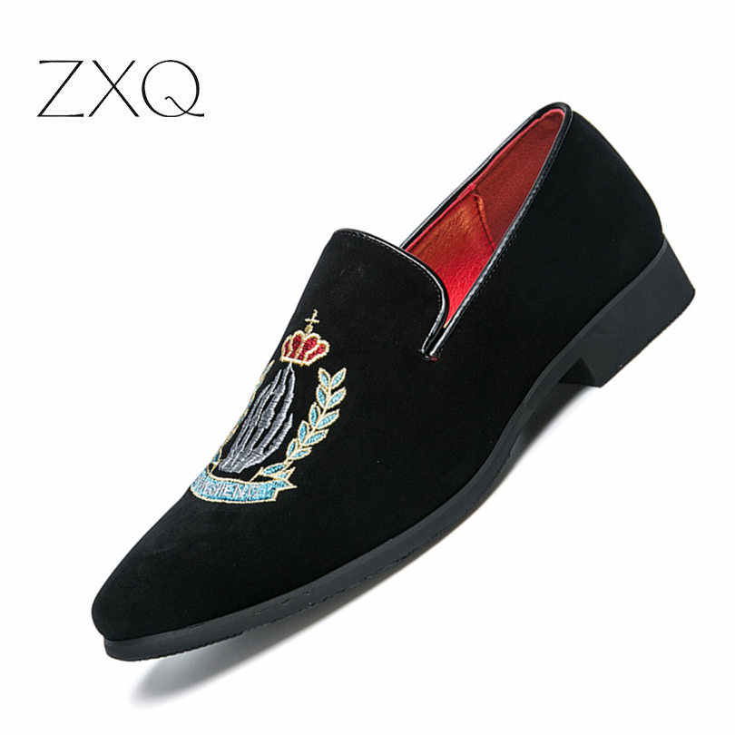 b5d375f659b Luxury Brand Men Loafers Shoes Top Quality Back Shoes Fashion Embroidery Men  Velvet Loafers Casual Driving
