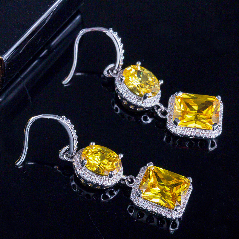 Yellow Crystal Drop Earrings 3