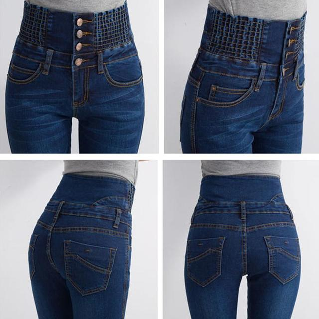 2016 new fashion women elastic waist high waist skinny stretch jeans female spring jeans Pencil Pants 3 colors