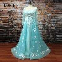 Arabic Evening Dress 2017 LORIE Special Occasion Dresses To Party Square Lace Appliqued Luxury Peach Long Sleeve Prom Gowns