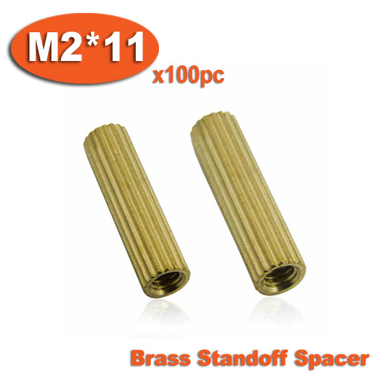 100pcs M2 x 11mm Brass Cylinder Shaped Female Thread Nuts Standoff Spacer Pillars