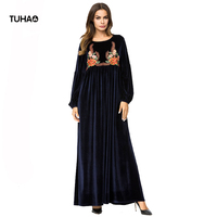 TUHAO 2018 Velvet Winter Dress Women Floral Embroidered High Waist Long Dress Muslim Casual Robes Bohemian Maxi Dress TA7225