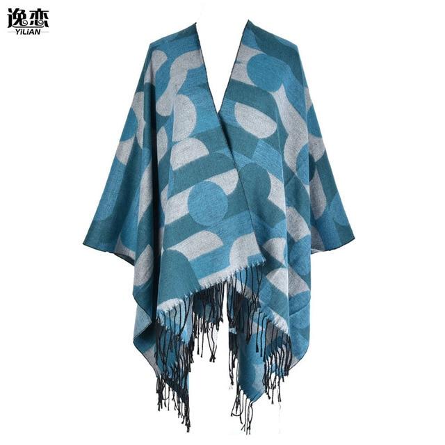 YI LIAN Brand New Circle Pattern Scarf For Women Top Quality Fashionable Winter Tassel Pashmina Shawl Warp Poncho SF860