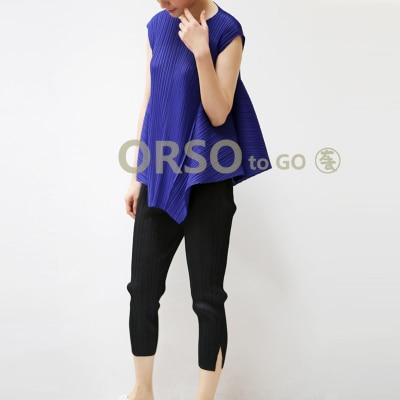 Livraison Irrégulière Miyake shirts En Lâche Noir bleu gris Mode Pli Couleur Solide T orange De Sans Manches Stock Gratuite rrFwAqg
