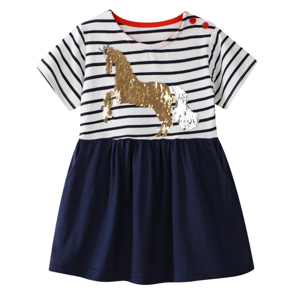 Girls White and Blue Striped Short Sleeve T Shirt with Unicorn detail