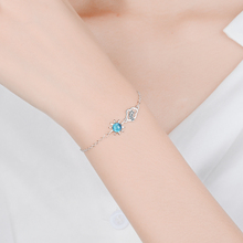 TJP Charm Lady Silver 925 Bracelet Jewelry Trendy Female Crystal Blue Star Clouds For Women Birthday Accessories Girls
