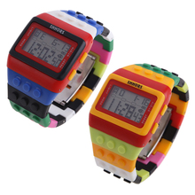2017 Hight Quality LED Retro Chic Unisex Digital Constructor Multi Function Watch Colourful Sports Watch Retro Digital Watch PT