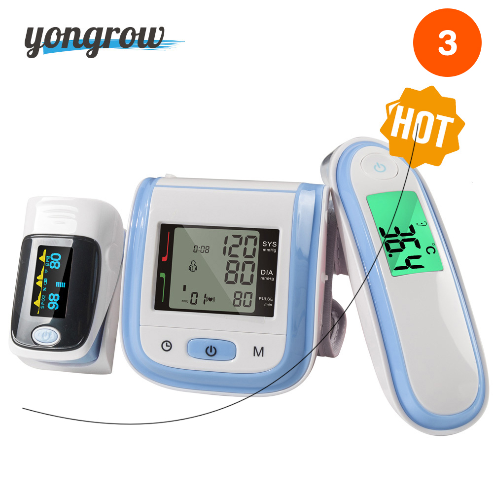Yongrow Digital Fingertip Pulse Oximeter SpO2 Wrist Blood Pressure Monitor Ear Infrared Thermometer Family Health Care Oxygen PR oled pulse finger fingertip oximeter blood spo2 pr heart rate monitor