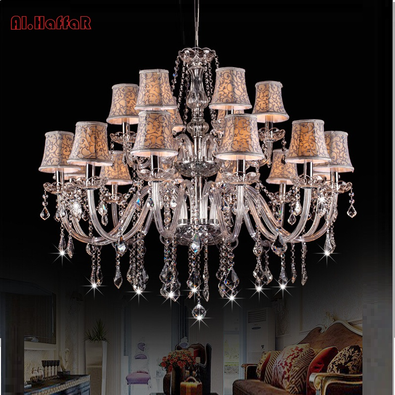 Large Double Layer chandelier 18 Arms K9 Crystal Luxury Big Lustres Chandelier Modern Crystal Chandelier Living Room Lampshades