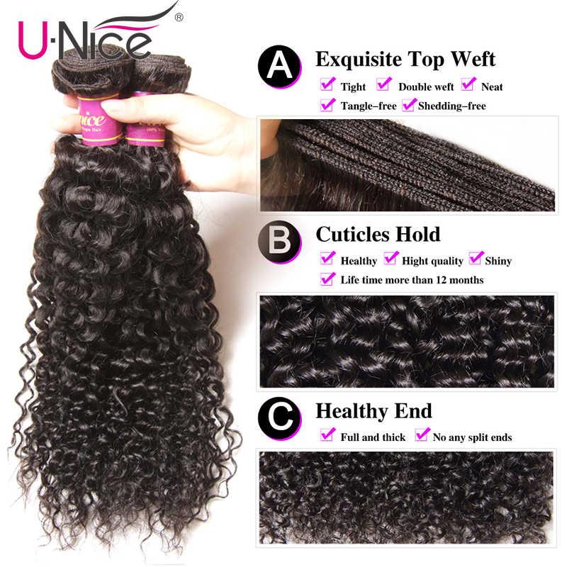 """UNice saç 100% kıvırcık örgü insan saçı Remy saç 8-26 """"brezilyalı saç örgü demetleri doğal renk 1 parça siyah cuma fiyatları"""