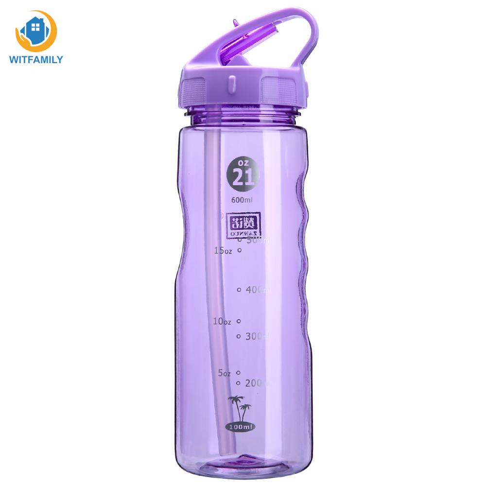 Convenient Water Bottle For Bicycle Hiking Camping 4 Colors Leak Proof Flip Type Travel Yoga Drink Bottles For Water 600ml