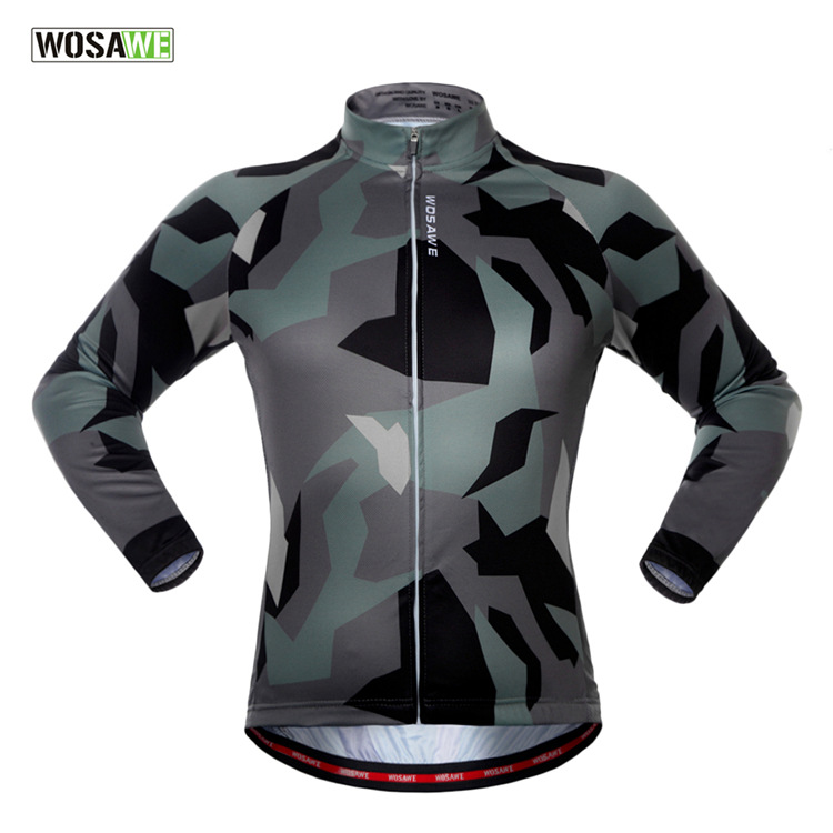 WOSAWE Men Camouflage Cycling Jacket Long Sleeve Downhill Jersey Bicycle Clothing Bicycle Jacket Cycling Jersey Cycling Shirt wosawe cycling coat bike bicycle cycle clothing long jersey jacket wind tights pants whirlwind waterproof cycling jersey 2017