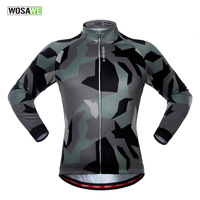 WOSAWE Men Camouflage Cycling Jacket Long Sleeve Downhill Jersey Bicycle Clothing Bicycle Jacket Cycling Jersey Cycling Shirt