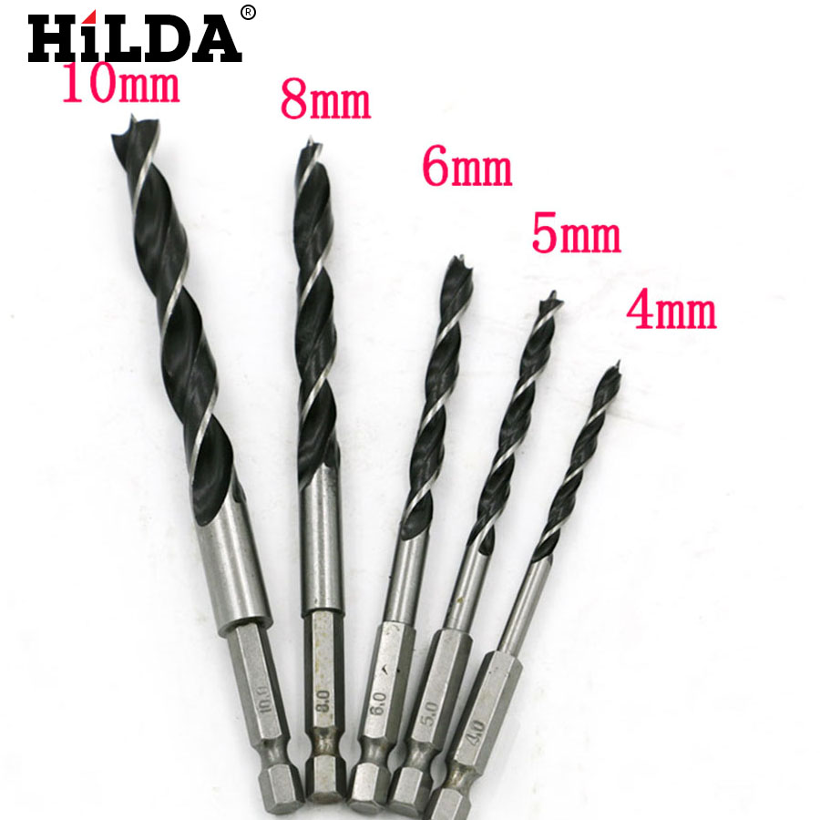 4mm 5mm 6mm 8mm 10mm 1/4 Hex Shank High Carbon Steel Woodworking Hole Cut Reaming Cone Drill Bit Wood Drill Bit Set 5pcs hss twist drill bit set hex shank hole cutter woodworking hole cut tools 4mm 5mm 6mm 8mm 10mm