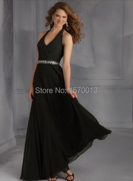 Long Bridesmaid Dress Black Chiffon Halter Beaded Waist Backless Vestidos  Dama De Honra Full Length Wedding Guests Party Gown-in Bridesmaid Dresses  from ... 2028cf789ff2