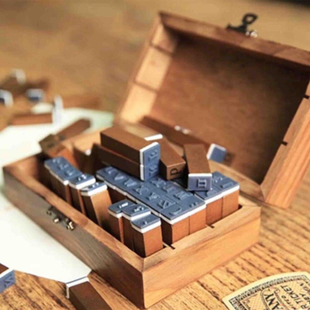 Tampon bricolage rétro en bois boîte anglais alphanumérique symboles coréen bois caoutchouc timbre lot de 7