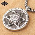 Star of Dived Vintage Cross Hexagram and 12 constellation stainless steel big round pendant for Men and women necklace