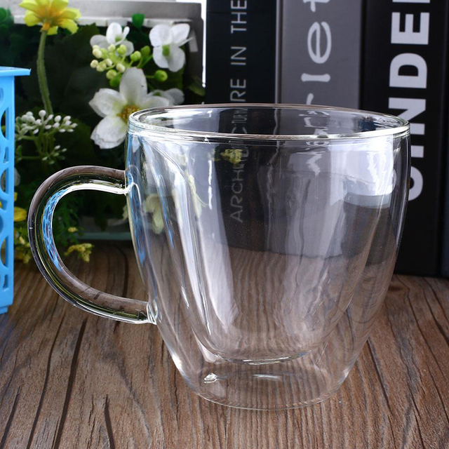 Heart Shaped Heat-Resisting Double Wall Clear Transparent Glass Tea Cup Handmade Mini Coffee Mug Gift Double Layer Glass Mug