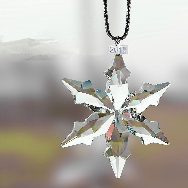 DEDC Transparent Crystal Snowflakes Pendant Cars Interior Accessories Ornaments Christmas Tree Hanging Decoration Gifts