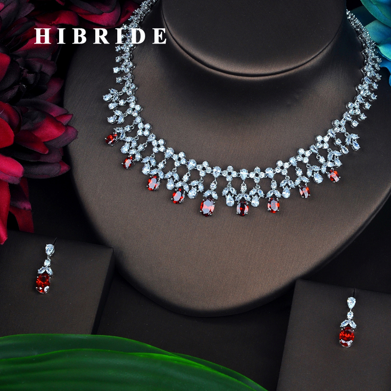 HIBRIDE Beauty Red Full Cubic Zircon Cut Jewelry Sets For Women Jewelry Necklace Set Wedding Accessories