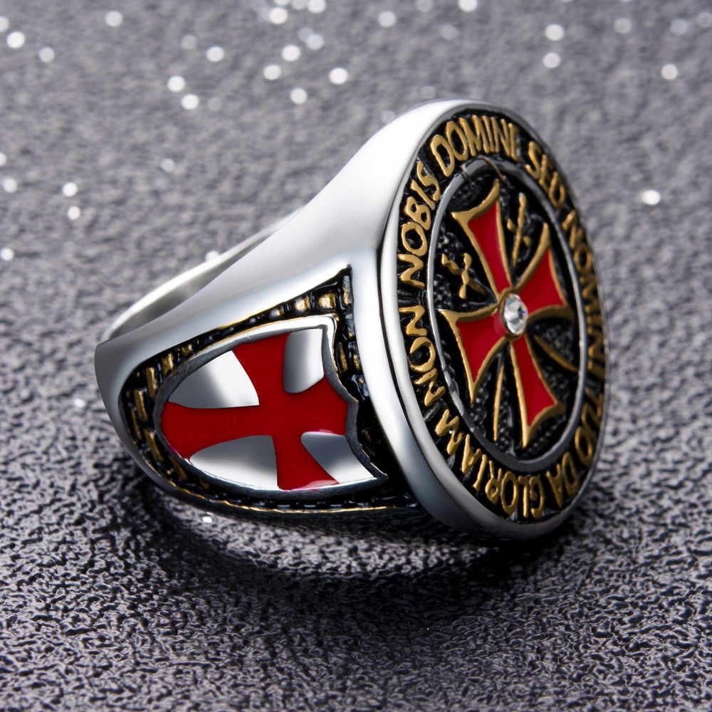 十字軍ステンレス鋼男性のリング赤十字象眼キュービックジルコニア横暴なテンプル騎士団のリング