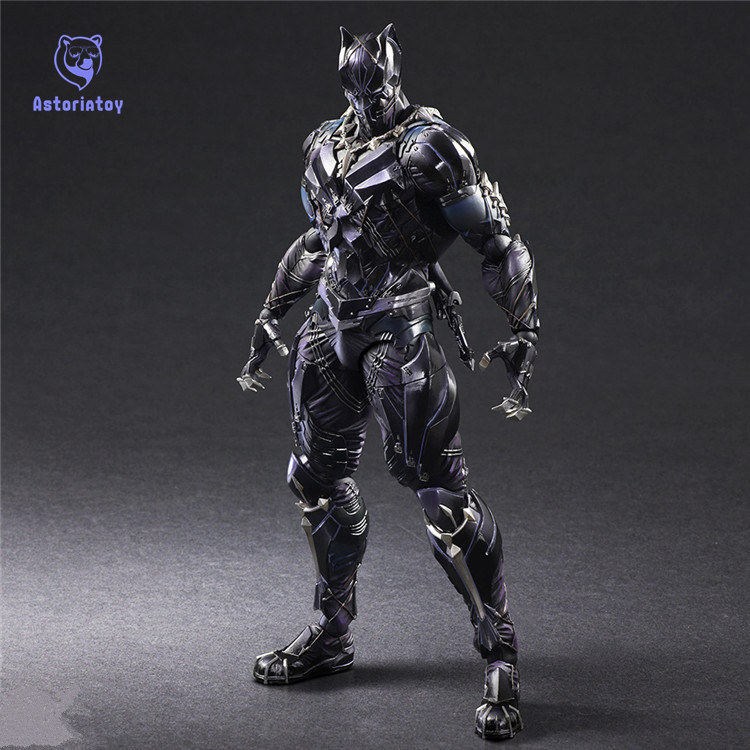 Play Arts Kai PA TChalla Black Panther Super Hero Iron Man PA 27cm PVC Action Figure Doll Toys Kids Gift Brinquedos