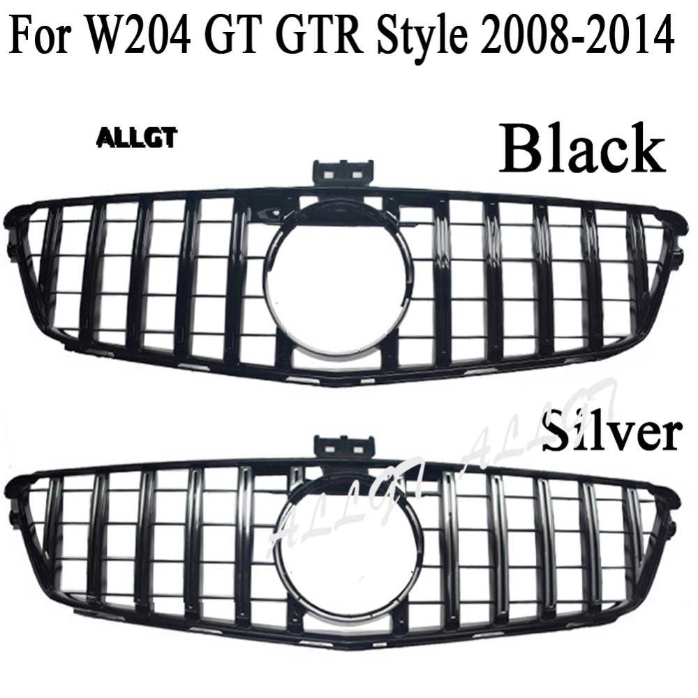 Front <font><b>Grill</b></font> fit for Mercedes <font><b>Benz</b></font> <font><b>W204</b></font> C-Class SL C200 C300 C350 GTR Style Grille 2008-2014 2008 2009 2010 2011 2012 2013 2014 image