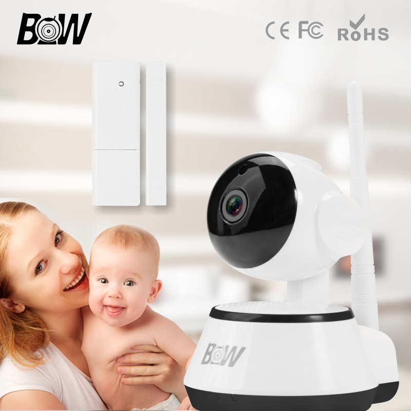 Surveillance IP Camera With Door Sensor Alarm Wireless Microphone Infrared Camera WiFi Remote Control Baby Monitor BW014 bw wireless wifi door