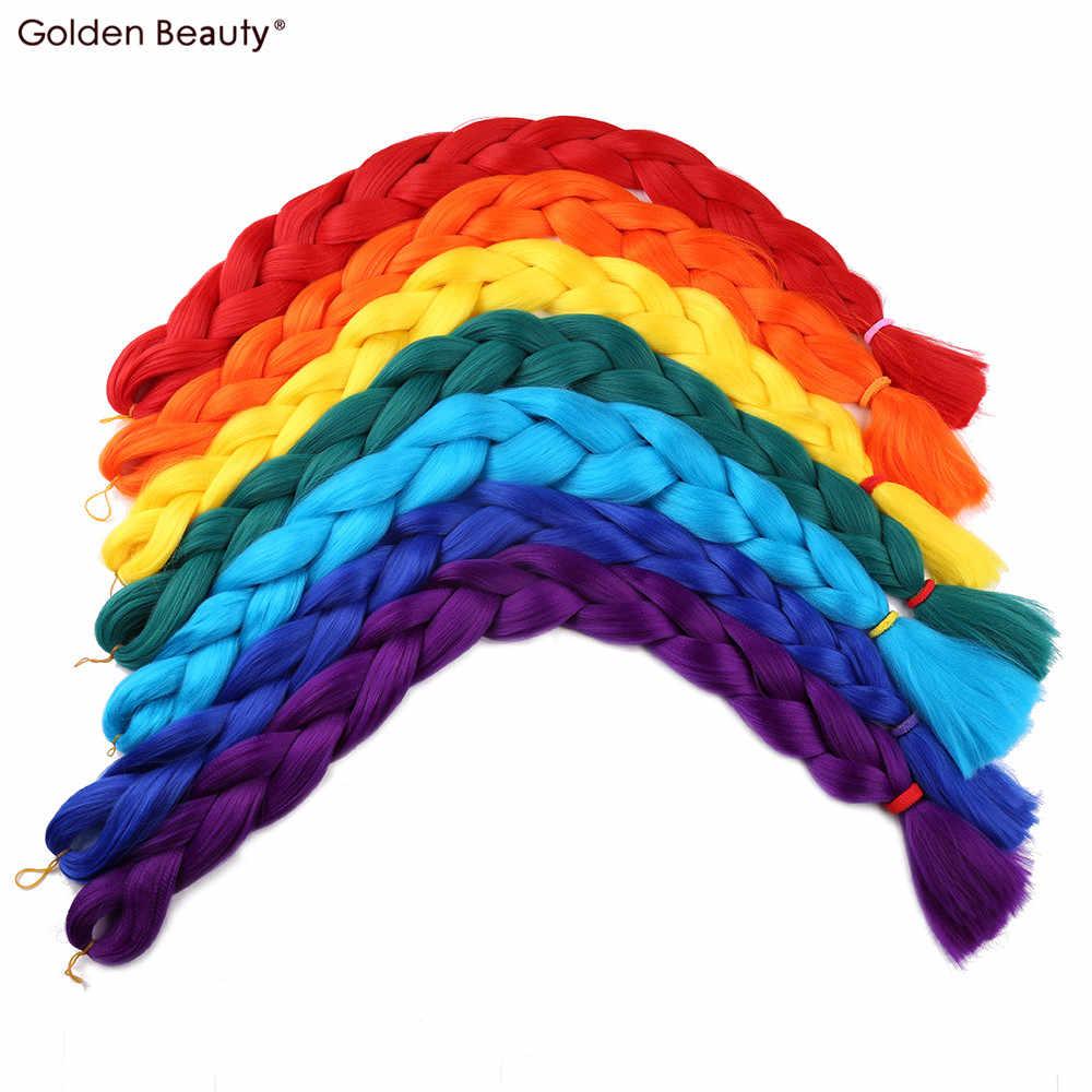 Trenzas Jumbo sintéticas de belleza dorada de 41 pulgadas de 165g extensiones de cabello trenzado de expresión de Crotchet Rubio falso Rinbow